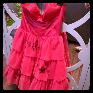 Betsey Johnson hot pink bustier style,worn once